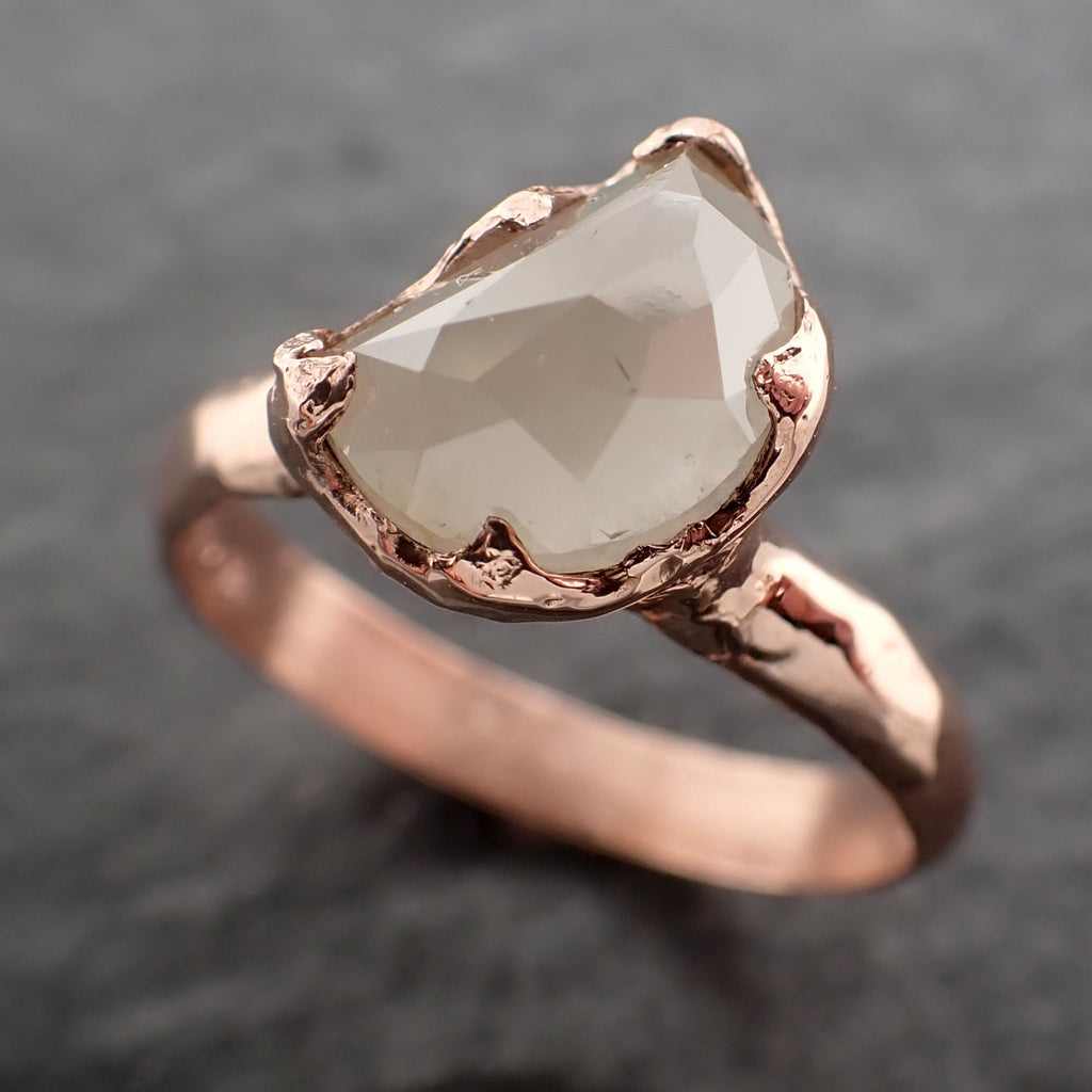 Faceted Fancy cut white Half Moon Diamond Engagement 14k Rose Gold Solitaire Wedding Ring byAngeline 2460