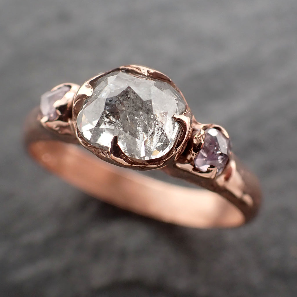 Fancy cut Diamond Engagement 14k Rose Gold Multi stone Wedding Ring byAngeline 2457