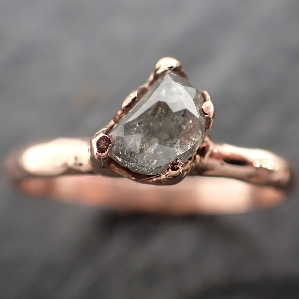 Faceted Fancy cut Salt and pepper Half Moon Diamond Engagement 14k Rose Gold Solitaire Wedding Ring byAngeline 2459
