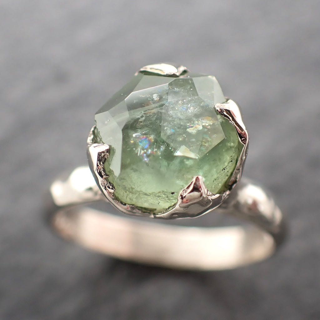 Partially Faceted Green Sapphire Solitaire 14k white Gold Engagement Ring cocktail statement OOAK Gemstone Ring 2464