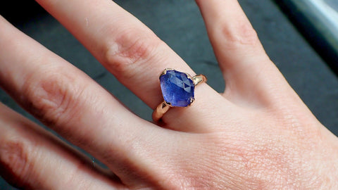 Fancy cut Tanzanite 14k recycled rose Gold Ring Gemstone cocktail statement byAngeline 2183