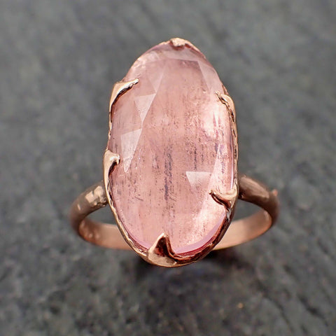 Fancy cut Pink Morganite Rose Gold Ring Gemstone Solitaire recycled 14k statement cocktail statement 2192