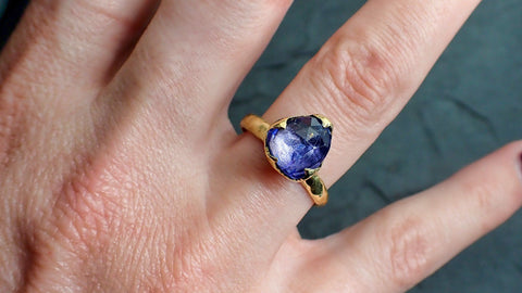 Fancy cut Tanzanite Crystal Solitaire 18k recycled yellow Gold Ring Tanzanite stacking cocktail statement byAngeline 2185