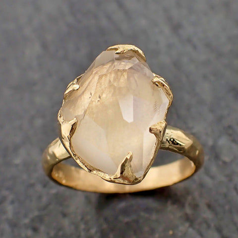 Partially Faceted Moonstone Yellow Gold Ring Gemstone Solitaire recycled 18k statement cocktail statement 2189