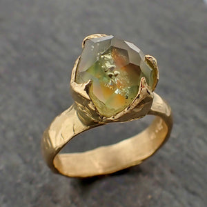 Partially Faceted Sapphire 18k Yellow Gold Engagement Ring Wedding Ring Custom One Of a Kind Gemstone Ring Solitaire 2186