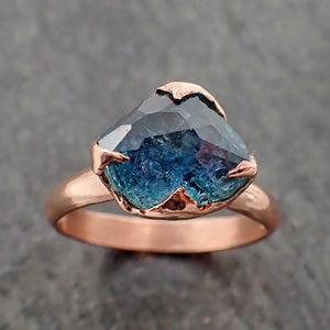 Partially Faceted Blue Sapphire Solitaire 14k Rose Gold Engagement Ring Wedding Ring Custom One Of a Kind blue Gemstone Ring 2190