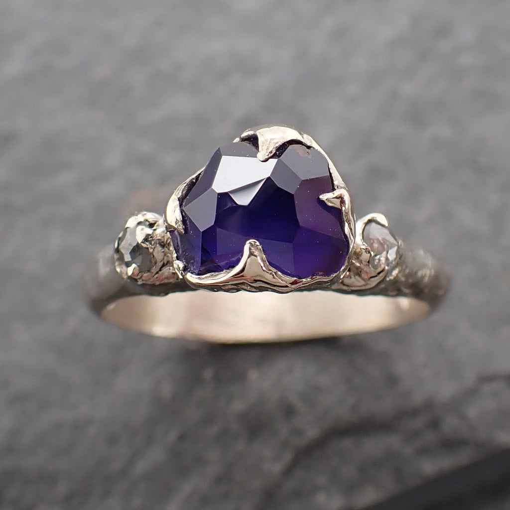 Partially Faceted Purple and blue Sapphire side diamonds Multi stone 18k White Gold Engagement Ring Wedding Ring Custom Gemstone Ring 2472