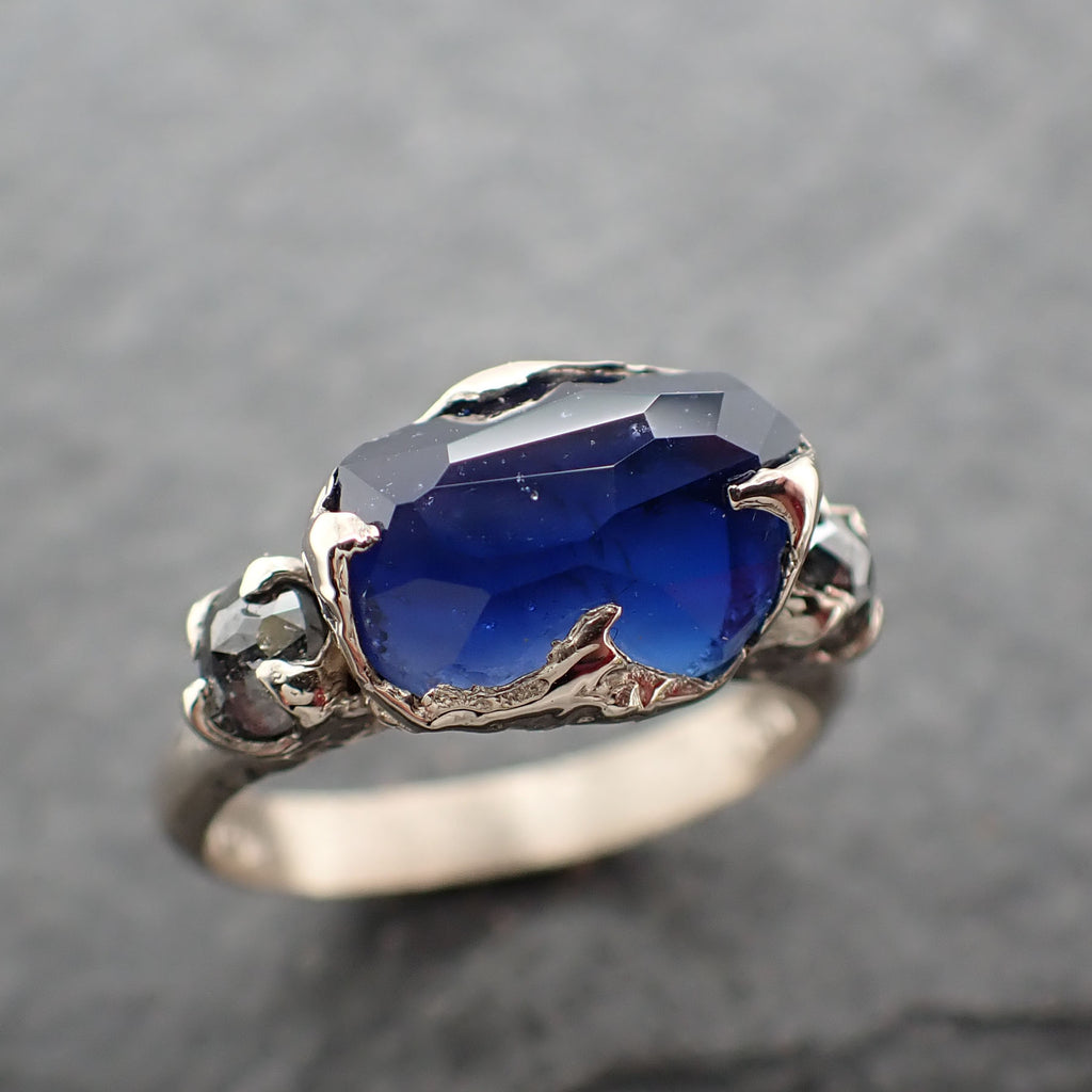 Partially Faceted Blue Sapphire side diamonds Multi stone 18k White Gold Engagement Ring Wedding Ring Custom Gemstone Ring 2471