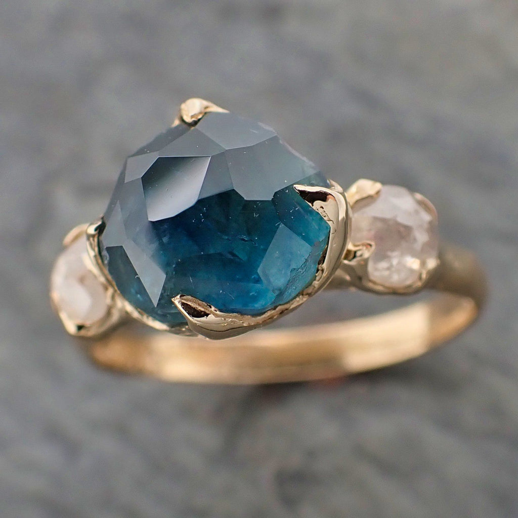 Partially faceted blue Montana Sapphire and fancy Diamonds 14k Yellow Gold Engagement Wedding Ring Gemstone Ring Multi stone Ring 2193