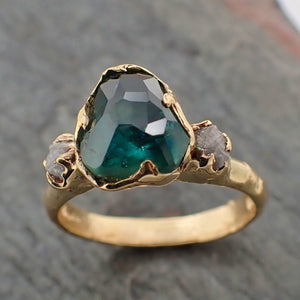 Partially faceted green Montana Sapphire and rough Diamonds 14k Rose Gold Engagement Wedding Ring Custom Gemstone Ring Multi stone Ring 2196