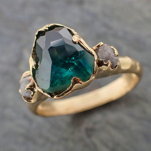 Partially faceted green Montana Sapphire and rough Diamonds 14k Gold Engagement Wedding Ring Custom Gemstone Ring Multi stone Ring 2196