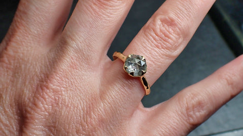 Fancy cut Salt and pepper Solitaire Diamond Engagement 14k Yellow Gold Wedding Ring byAngeline 2201