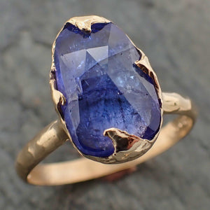 Fancy cut Tanzanite 14k recycled Gold Ring Gemstone cocktail statement byAngeline 2200
