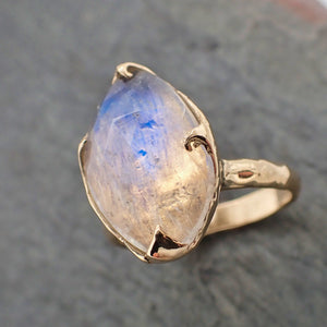 Fancy cut Moonstone Rose Gold Ring Gemstone Solitaire recycled 14k statement cocktail statement 2197