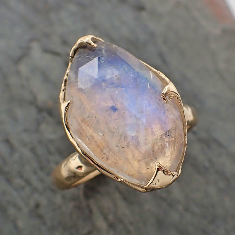 Fancy cut Moonstone Yellow Gold Ring Gemstone Solitaire recycled 14k statement cocktail statement 2197