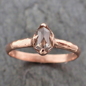 Fancy cut Champagne Diamond Solitaire Engagement 14k Rose Gold Wedding Ring byAngeline 2204