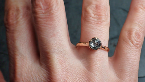 Fancy cut Salt and pepper Solitaire Diamond Engagement 14k Rose Gold Wedding Ring byAngeline 2203