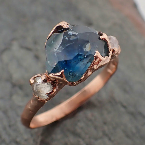 Partially faceted blue Montana Sapphire and fancy Diamonds 14k Rose Gold Engagement Wedding Ring Gemstone Ring Multi stone Ring 2194