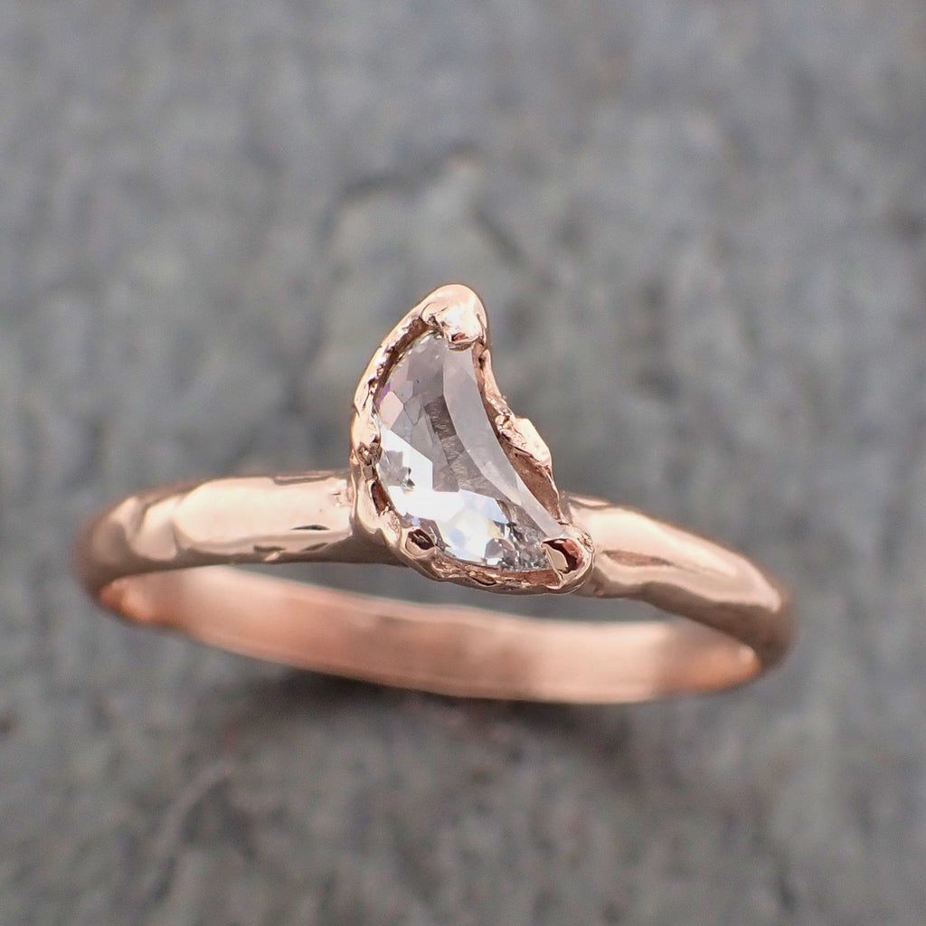Faceted Fancy cut white crescent Half Moon Diamond Engagement 14k Rose Gold Solitaire Wedding Ring byAngeline 2202