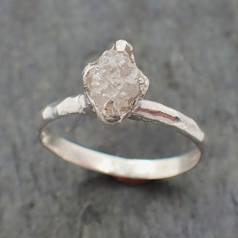 Raw Rough Diamond Engagement Stacking ring Solitaire Silver Ring recycled SS00048