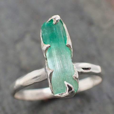 Raw uncut Emerald Sterling Silver Ring Gemstone Solitaire recycled statement cocktail statement SS00056