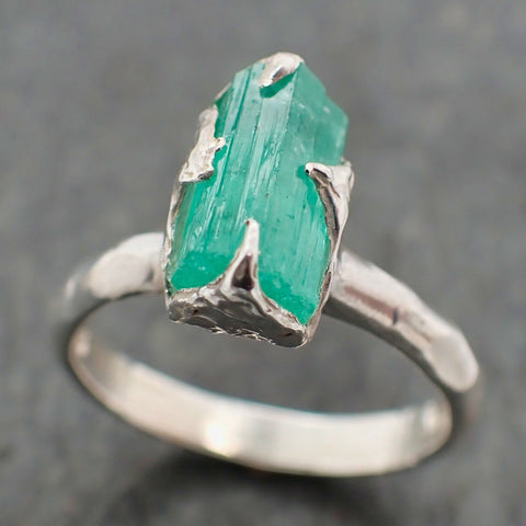 Raw uncut Emerald Sterling Silver Ring Gemstone Solitaire recycled statement cocktail statement SS00058