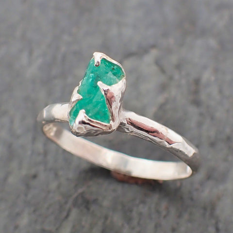 Raw uncut Emerald Sterling Silver Ring Gemstone Solitaire recycled statement cocktail statement SS00060