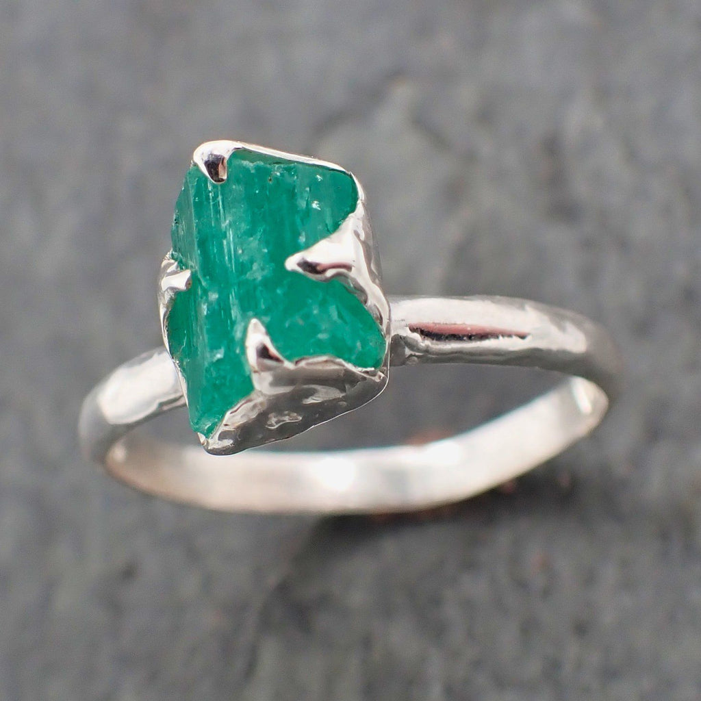 Raw uncut Emerald Sterling Silver Ring Gemstone Solitaire recycled statement cocktail statement SS00059