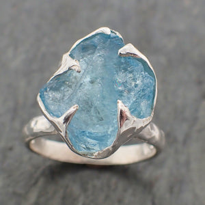 Uncut Aquamarine Solitaire Ring Custom Sterling Silver One Of a Kind Gemstone Ring Bespoke byAngeline SS00054