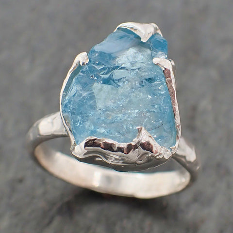 Uncut Aquamarine Solitaire Ring Custom Sterling Silver One Of a Kind Gemstone Ring Bespoke byAngeline SS00055