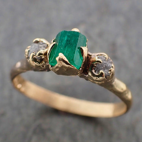 Three raw Stone Diamond and Emerald Gemstone Engagement Ring Dainty 18k Gold Multi stone Wedding Ring Uncut Birthstone Stacking Ring Rough Diamond Ring byAngeline 2217