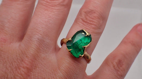 Partially Faceted Emerald Solitaire yellow 18k Gold Ring Birthstone One Of a Kind Gemstone Cocktail Ring Recycled 2207