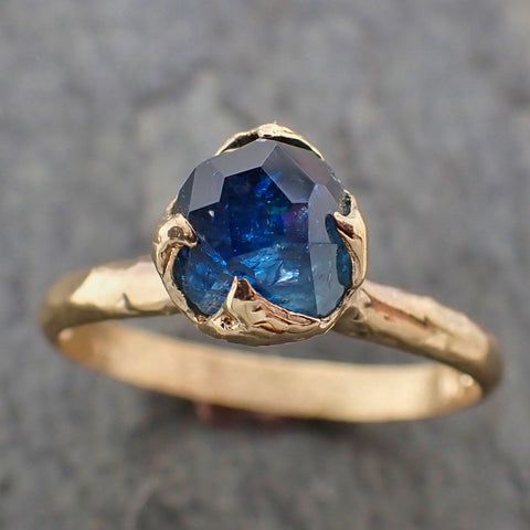 Partially faceted Blue Montana Sapphire Solitaire 18k yellow Gold Engagement Wedding One Of a Kind blue Gemstone Ring 2212
