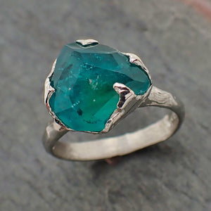 Partially faceted Paraiba Tourmaline 18k white Gold Engagement Ring One Of a Kind Solitaire Gemstone byAngeline 2208
