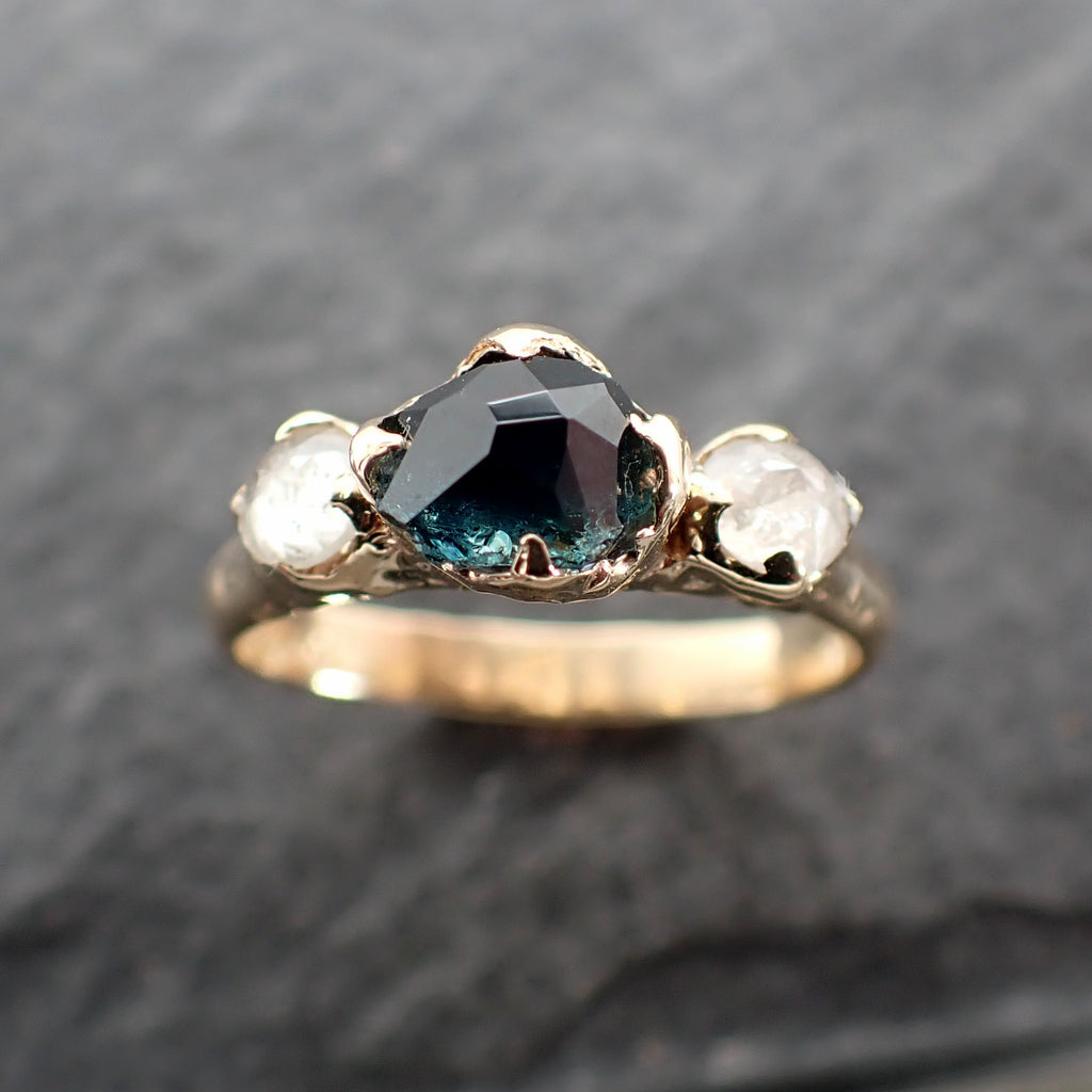 Partially faceted blue Montana Sapphire and fancy Diamonds 14k Yellow Gold Engagement Wedding Ring Gemstone Ring Multi stone Ring 2489