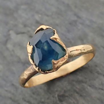 Partially faceted Blue Sapphire Solitaire 18k yellow Gold Engagement Wedding One Of a Kind blue Gemstone Ring 2230