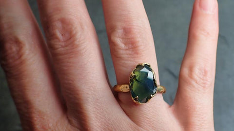 Partially Faceted Sapphire 18k Yellow Gold cocktail Custom  Gemstone Ring Solitaire 2218