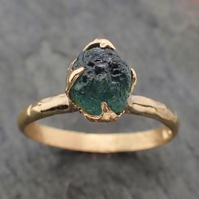 Raw Green Montana Sapphire 18k Yellow Gold Engagement Ring Wedding Ring Custom Gemstone Ring Solitaire Ring byAngeline 2228