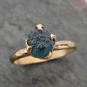Raw Blue Montana Sapphire 18k Yellow Gold Engagement Ring Wedding Ring Custom Gemstone Ring Solitaire Ring byAngeline 2227
