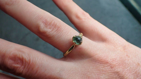 Raw green Montana Sapphire 18k Yellow Gold Engagement Ring Wedding Ring Custom Gemstone Ring Solitaire Ring byAngeline 2229