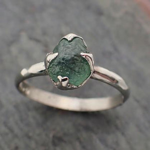 Raw green Montana Sapphire 18k White Gold Engagement Ring Wedding Ring Custom Gemstone Ring Solitaire Ring byAngeline 2225