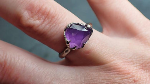Partially Faceted purple Sapphire Solitaire 18k white Gold Cocktail Custom One Of a Kind Gemstone Ring 2220