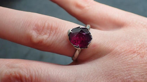 Partially Faceted Ruby red Sapphire Solitaire 18k White gold Engagement Ring Wedding Ring Custom One Of a Kind Gemstone Ring 2221