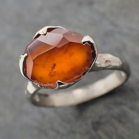 Partially Faceted Orange Sapphire Solitaire 18k white Gold Cocktail Custom One Of a Kind Gemstone Ring 2219
