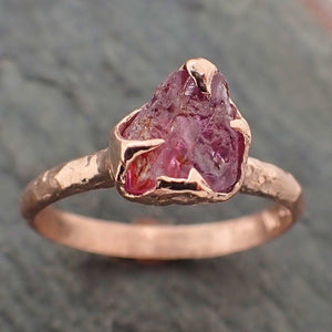 Raw Pink Sapphire sapphire Rose Gold Engagement Wedding Custom Gemstone Solitaire Ring byAngeline 2232