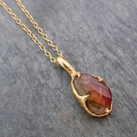 Fancy cut watermelon Tourmaline 14k Yellow gold Pendant Gemstone Necklace gemstone Jewelry byAngeline 2239