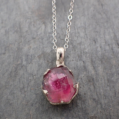 Fancy cut pink Tourmaline 14k White gold Pendant Gemstone Necklace gemstone Jewelry byAngeline 2242