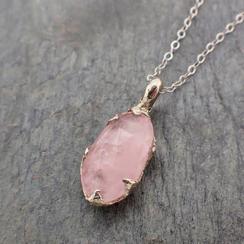 Fancy cut Morganite 14k white gold Pendant pink Gemstone Necklace 2234