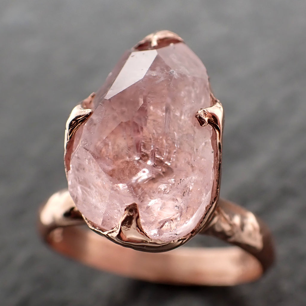 Morganite partially faceted 14k Rose gold solitaire Pink Gemstone Cocktail Ring Statement Ring gemstone Jewelry by Angeline 2493