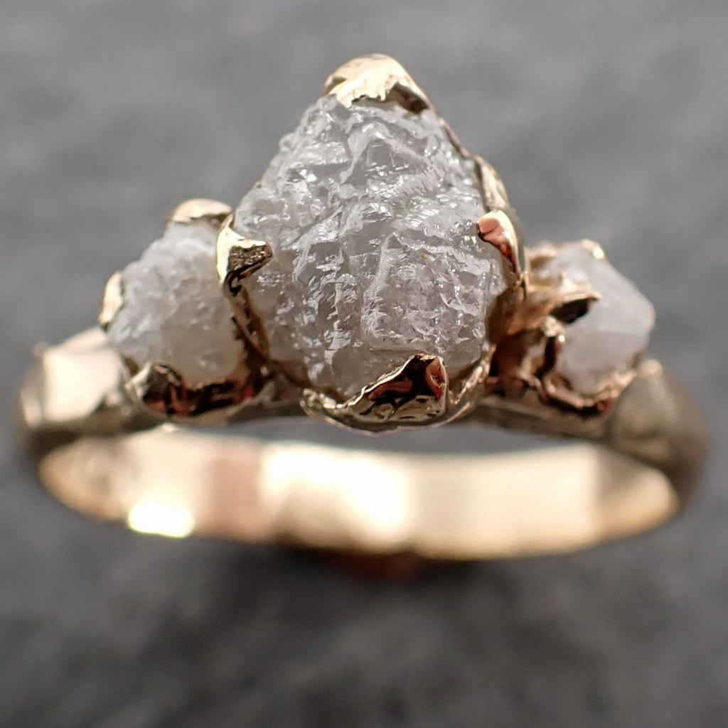 Raw Rough Diamond Engagement Stacking Multi stone Wedding anniversary 14k Gold Ring Rustic 2495